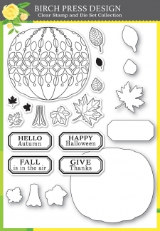 Pumpkin Lacework clear stamp and die set