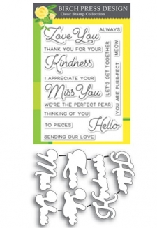 Love and Miss You clear stamp and die set