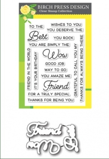 Best Friend clear stamp set and die set