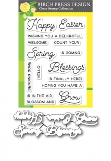 Spring Blessings clear stamp and die set